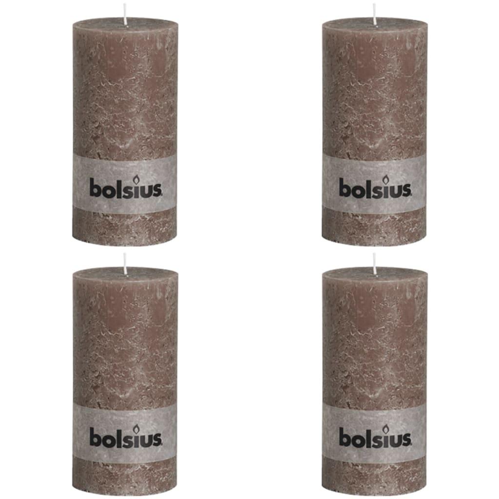 Bolsius Lumânare bloc rustică, 4 buc., gri taupe, 200 x 100 mm imagine vidaxl.ro