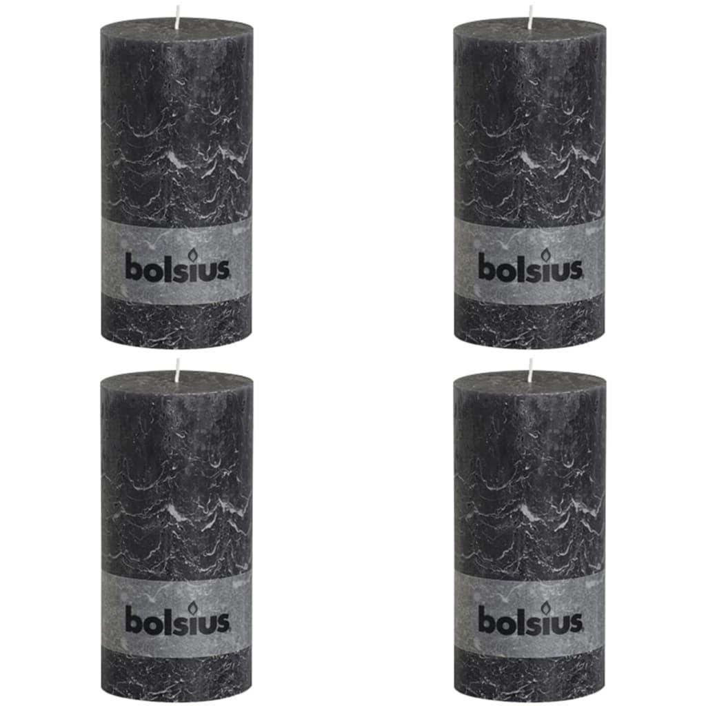 Bolsius Lumânare bloc rustică, 4 buc., antracit, 200 x 100 mm poza 2021 Bolsius