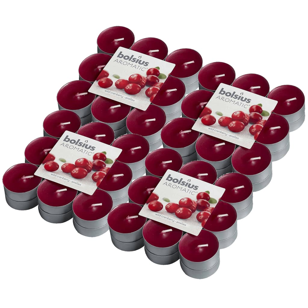 Bolsius Lumânări de ceai parfumate 72 buc., merișoare 103626949389 imagine vidaxl.ro