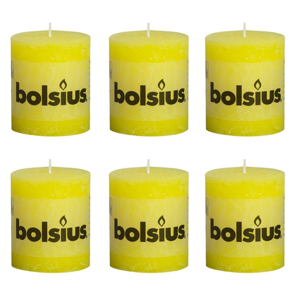 Lumânare bloc Bolsius, 80/68, 6 buc, Galben imagine vidaxl.ro