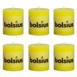 Bolsius Celebration rustikt søjlestearinlys 80 x 68 mm sæt med 6 stk. gul