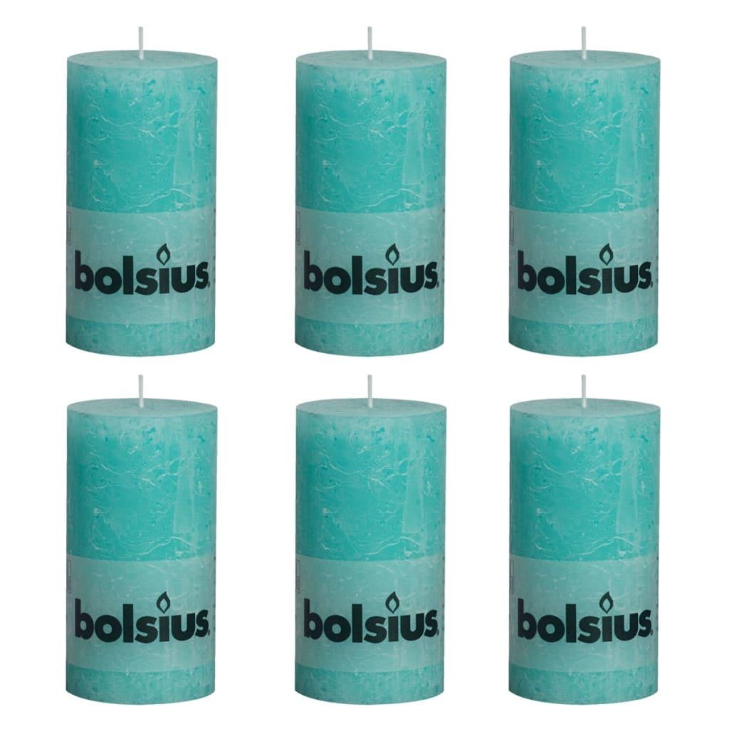 Bolsius Rustikální válcová svíčka 6 ks 130x68 mm oceánská modř