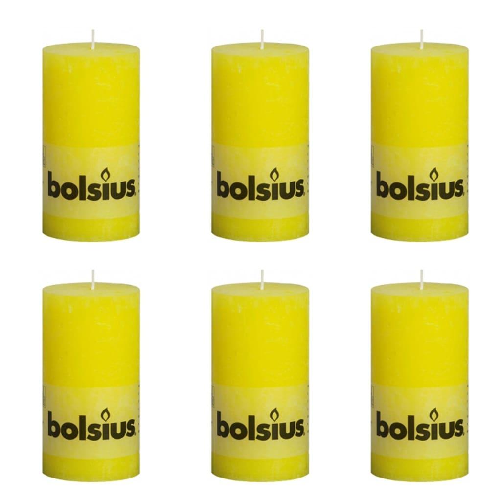 Bolsius Lumânare Sărbători Dreaptă Rustică Galben Cald 130/68 6 buc imagine vidaxl.ro