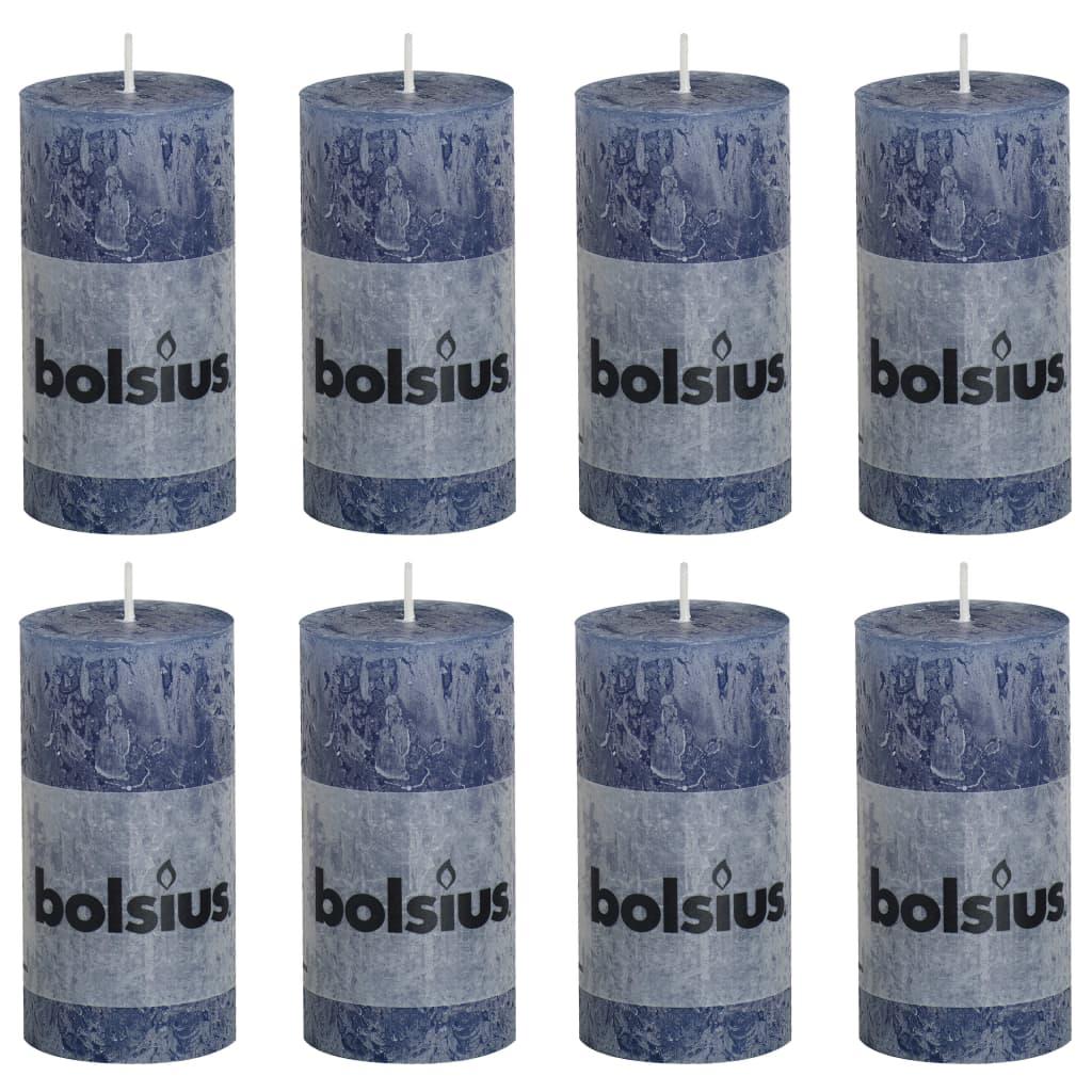 Bolsius Lumânări bloc rustice, 8 buc., albastru închis, 100 x 50 mm vidaxl.ro