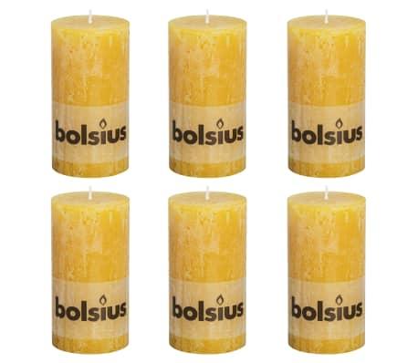 Bolsius Lumânări bloc rustice, 6 buc., 130 x 68 mm, galben ocru