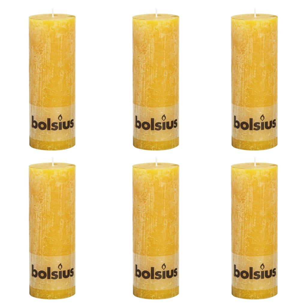 Bolsius Lumânări bloc rustice, 6 buc., galben ocru, 190 x 68 mm poza vidaxl.ro
