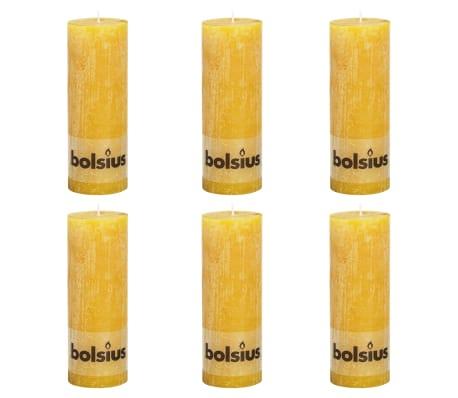Bolsius Lumânări bloc rustice, 6 buc., galben ocru, 190 x 68 mm