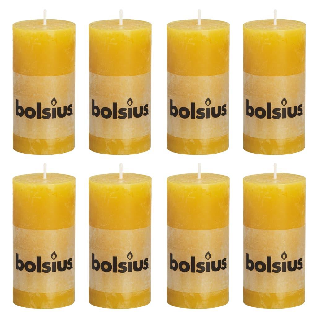Bolsius Lumânări bloc rustice, 8 buc., 100 x 50 mm, galben ocru imagine vidaxl.ro