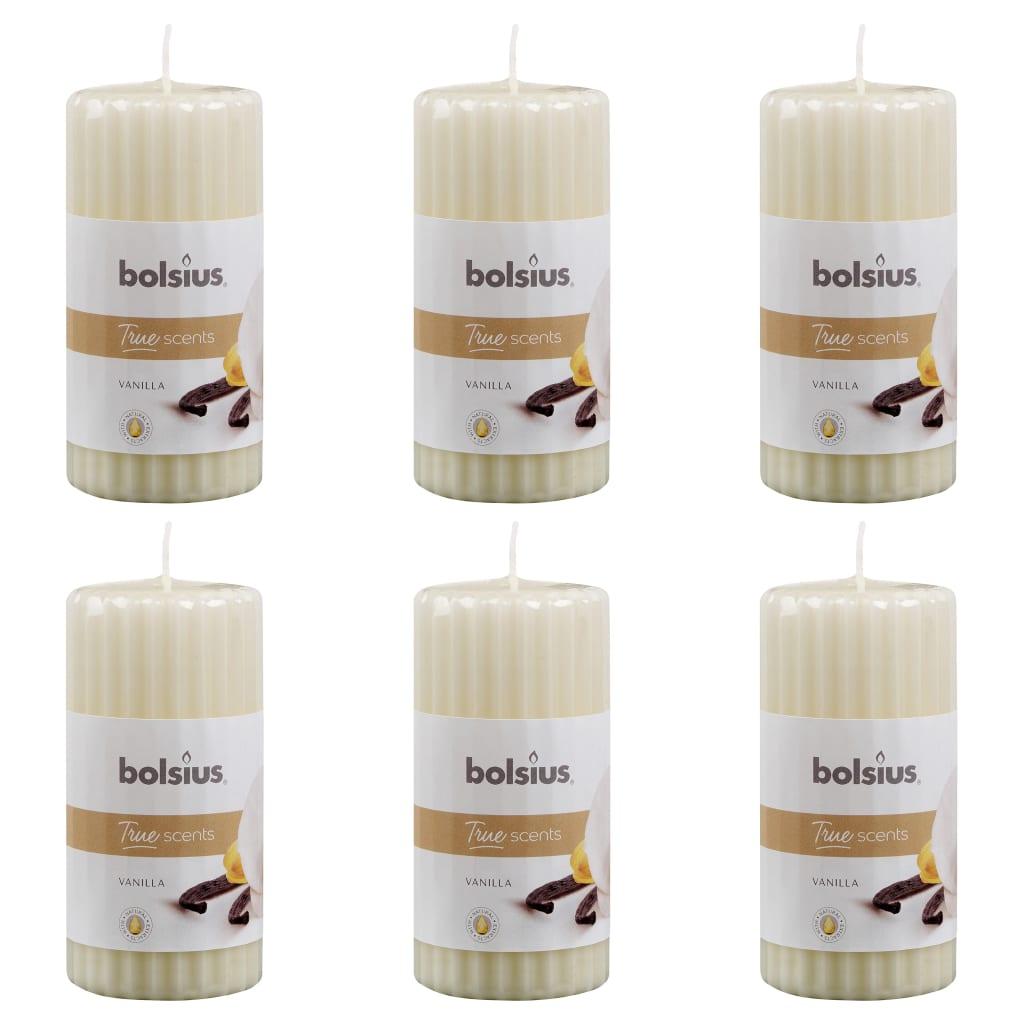 Bolsius Lumânări parfumate striate, 6 buc., vanilie, 120 x 58 mm imagine vidaxl.ro