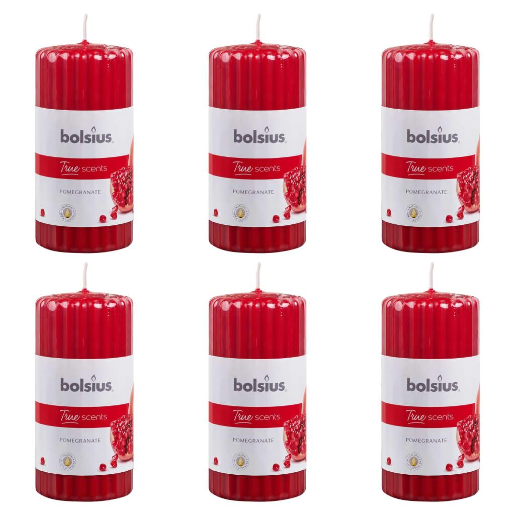 Bolsius Lumânări parfumate striate, 6 buc., rodie, 120 x 58 mm poza 2021 Bolsius