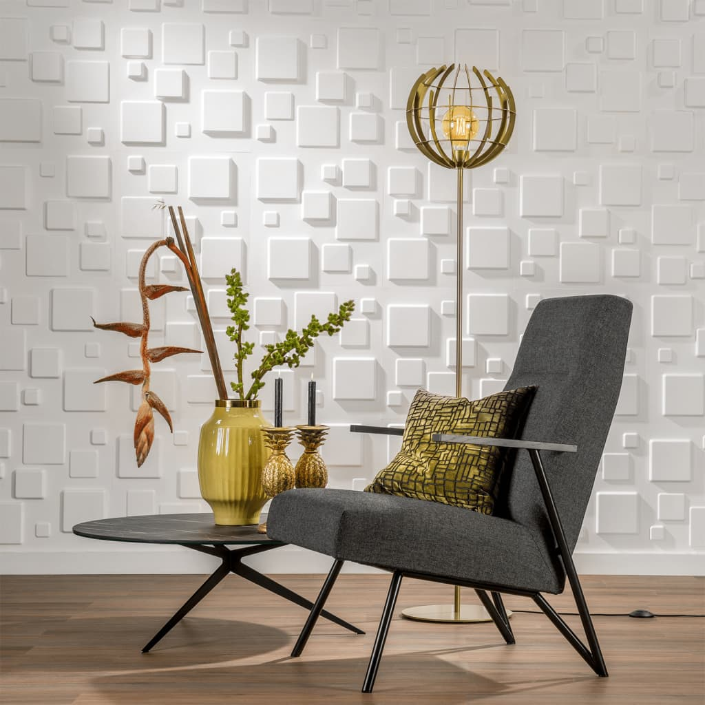 WallArt Lambriuri 3D model Squares, 12 buc. GA-WA09 vidaxl.ro