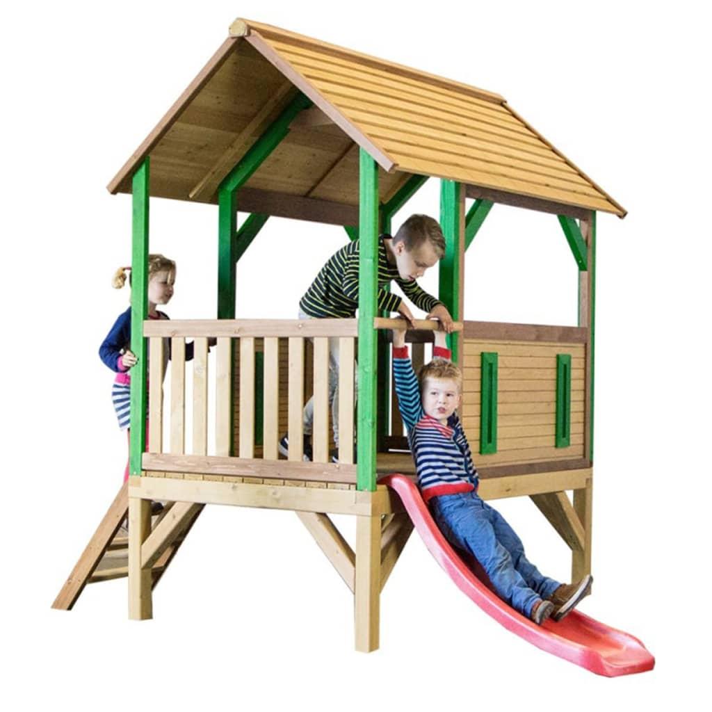 AXI Căsuță de joacă Akela cu scară și tobogan, lemn, A030.213.00 poza vidaxl.ro