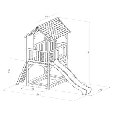 AXI Žaid. namelis su kopėčiomis, čiuožykla, smėlio dėže Pumba, mediena[3/3]