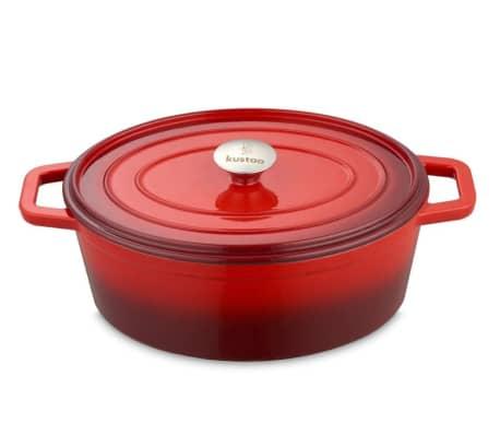 "Kustaa gietijzeren casserole pan 29cm ovaal ""Red/Black""[2/2]"