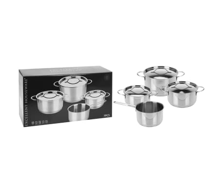 Excellent Houseware 7 Piece Casserole Set Stainless Steel 6 mm