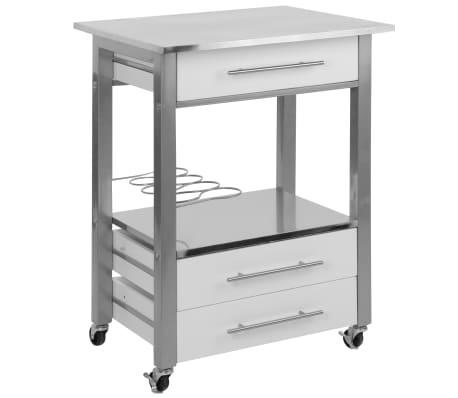 Excellent Houseware Chariot de cuisine MDF Blanc