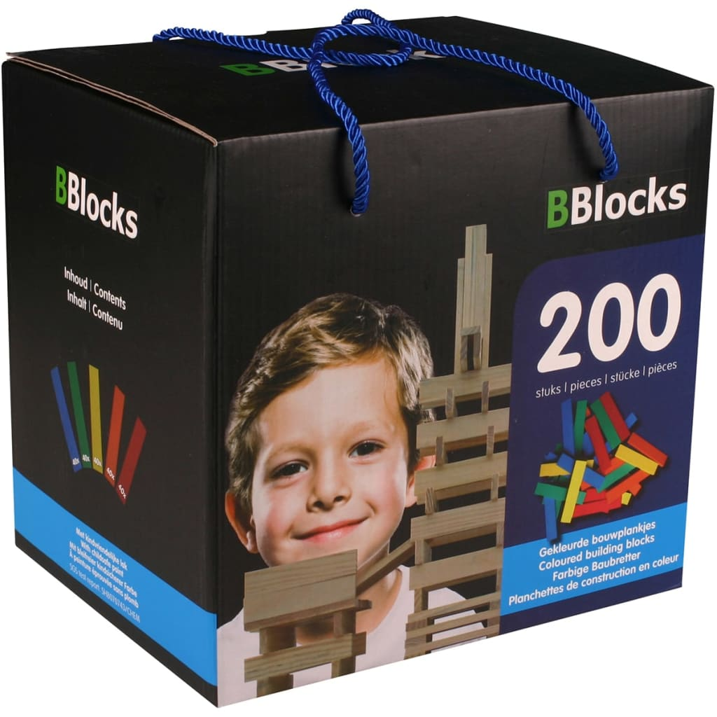 Afbeelding van BBlocks Bouwplankjes meerkleurig hout 200 st BBLO890102
