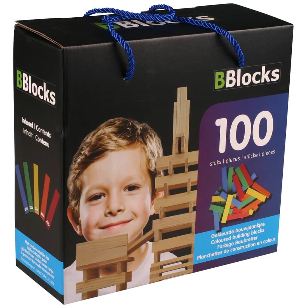 Afbeelding van BBlocks Bouwplankjes meerkleurig hout 100 st BBLO890099
