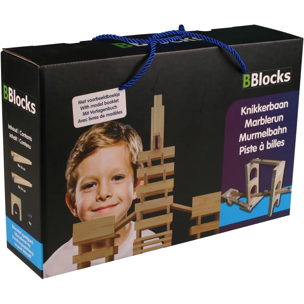 Afbeelding van BBlocks Knikkerbaan bouwplankjes bruin hout 26 st BBLO890300