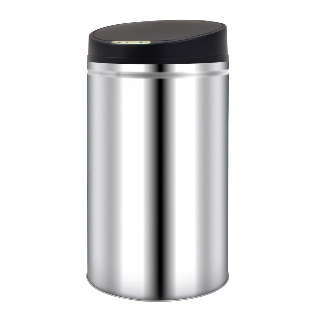 vidaXL Pubelă de gunoi cu senzor automat, 42 L, oțel inoxidabil poza vidaxl.ro