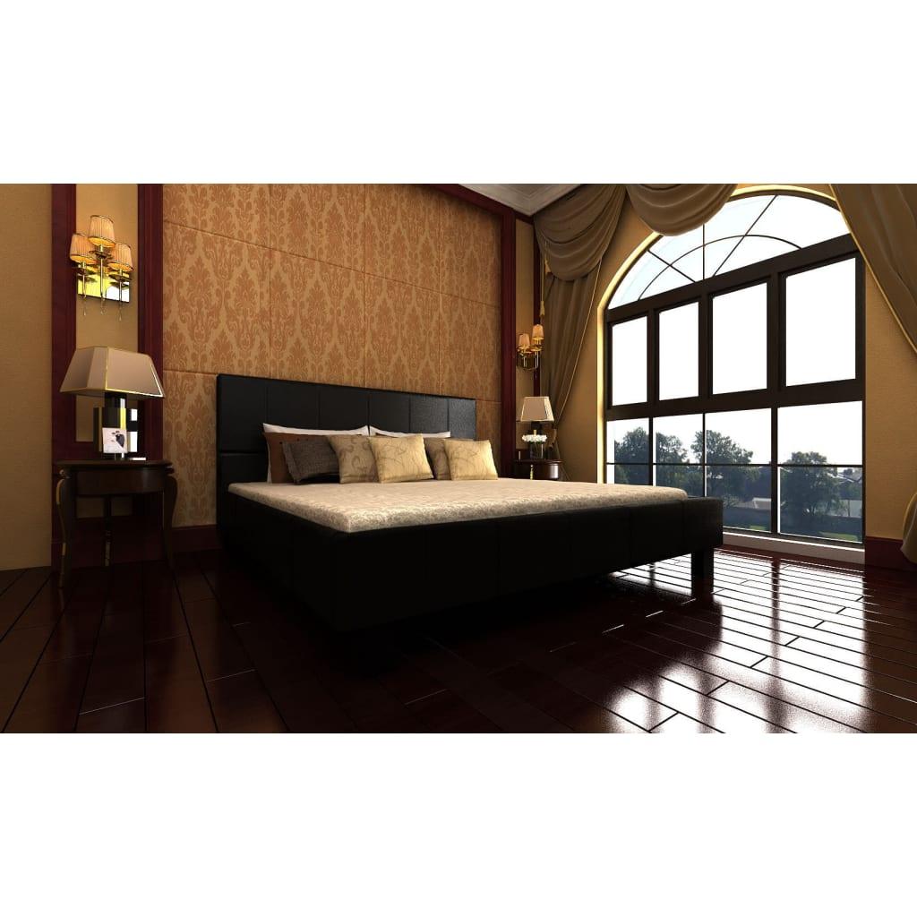 Manželská černá kožená postel , 140 x 200 cm