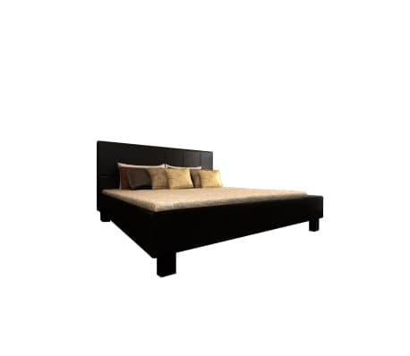 Double Black Artificial Leather Bed 180 X 200 Cm Vidaxl