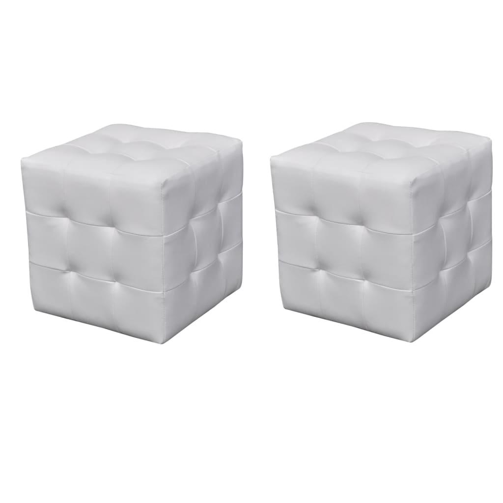 Set taburete cu formă cubică, Alb poza 2021 vidaXL