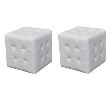 2 x Taburete De Forma De Cubo Blanco[1/4]