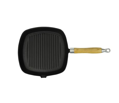Cast Iron Grill Pan BBQ Skillet Wooden Handle[1/5]