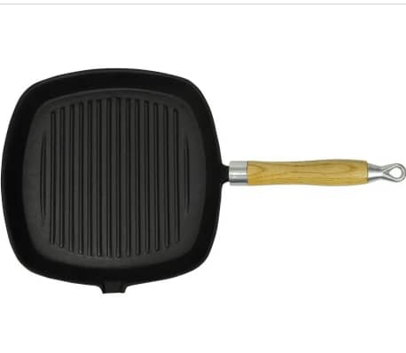 Cast Iron Grill Pan BBQ Skillet Wooden Handle[5/5]