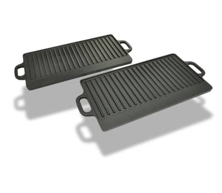 Set of 2 BBQ/Pizza Platter Grill Plate Cast Iron Reversible[1/5]