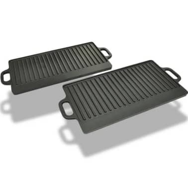 Set of 2 BBQ/Pizza Platter Grill Plate Cast Iron Reversible[5/5]