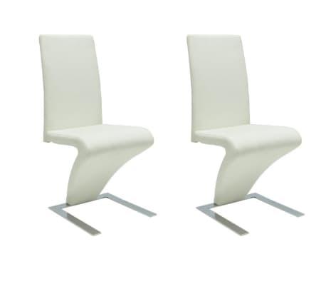 vidaXL Valgomojo kėdės, 2vnt., baltos, dirbtinė oda