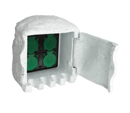 Soquete de jardim com 4 unidades e entalhas prova de água Branco[1/5]