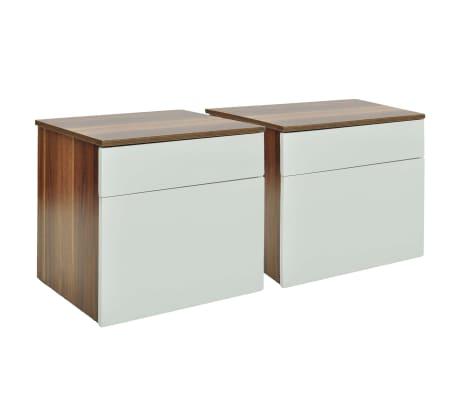 vidaXL Naktinis staliukas, 2 vnt., su stalčiu, ruda/balta