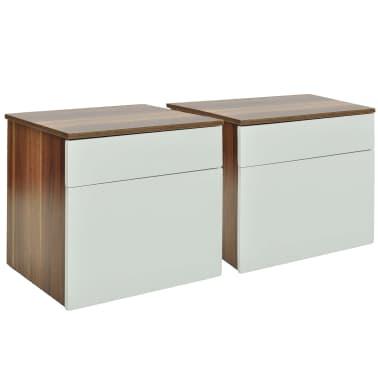 vidaXL Noptieră cu un sertar, 2 buc., maro/alb[2/6]