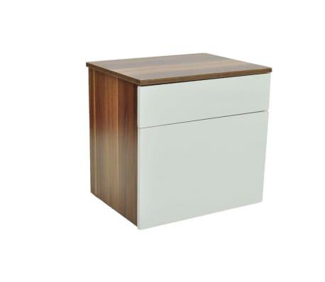 vidaXL Noptieră cu un sertar, 2 buc., maro/alb[3/6]