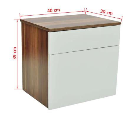 vidaXL Noptieră cu un sertar, 2 buc., maro/alb[6/6]