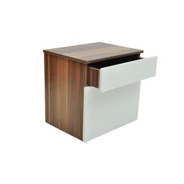 vidaXL Noptieră cu un sertar, 2 buc., maro/alb[5/6]