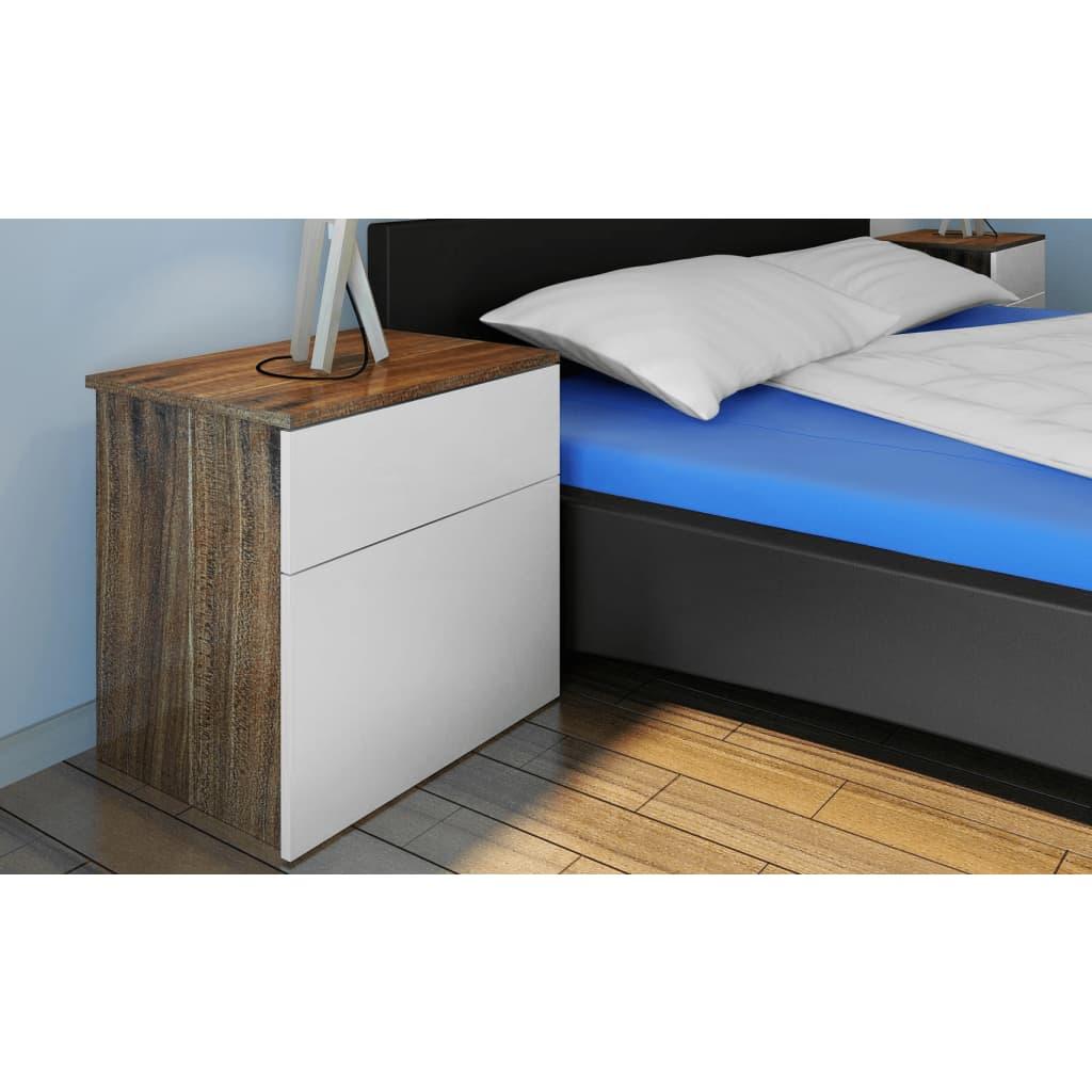 Velký noční stolek s 1 zásuvkou 2 ks - 40 x 30 x 39 cm - hnědý a bílý
