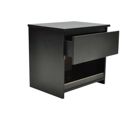 vidaXL Nightstand with One-Drawer Black 2 pcs