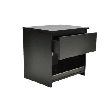 vidaXL Noptieră cu un sertar, negru, 2 buc.[2/6]