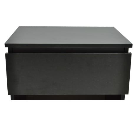 vidaXL Noptieră cu un sertar, negru, 2 buc.[4/6]