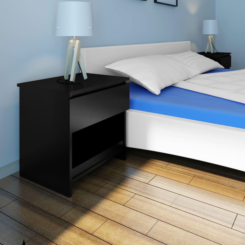 Noční stolek s jednou zásuvkou černý 2 ks