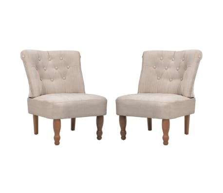 vidaXL Френски столове, 2 бр, кремави, текстил