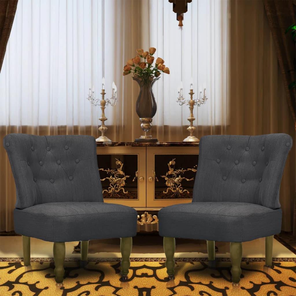 vidaXL 2 db szürke francia szövet fotel