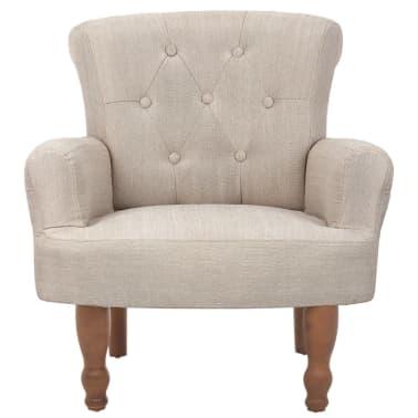 vidaXL Französischer Stuhl mit Armlehnen Stoff Cremeweiß