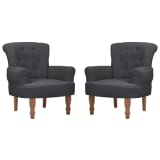 vidaXL French Chair 2 pcs with Armrest Fabric Grey