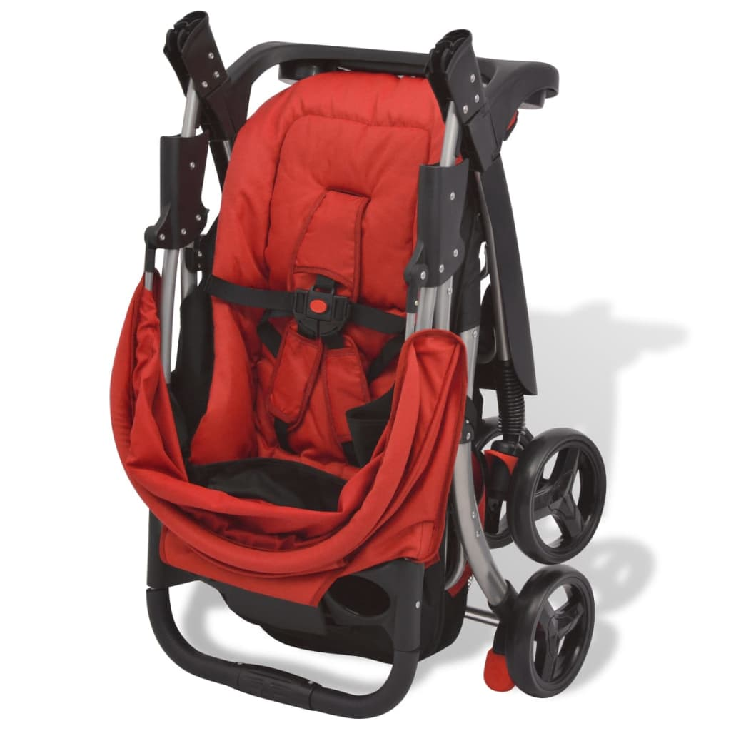 vidaXL Skládací kočárek červený 102 x 52 x 100 cm