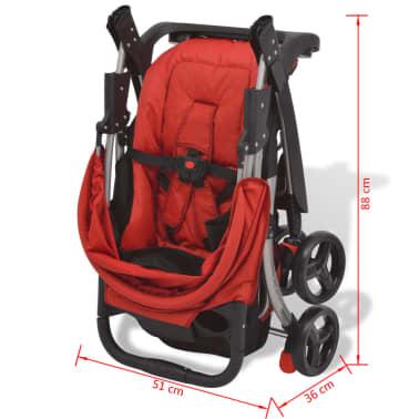 vidaXL Vaikiškas vežimėlis, raudonas, 102x52x100 cm[10/10]